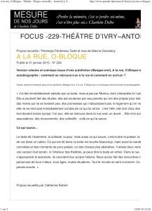 A la rue, O-Bloque - ThŽ‰tre _ Propos recueillis - Journal La Te